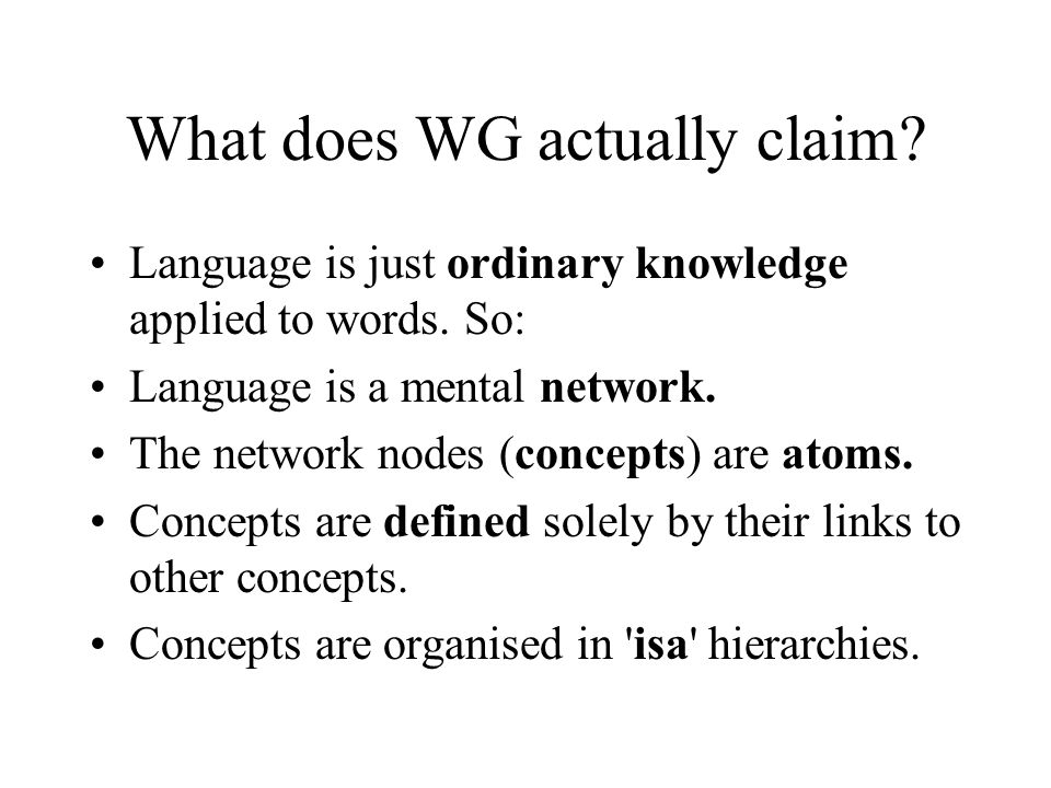 What does WG actually claim? Language is just ordinary knowledge applied to words. So: Language is a mental network. The network nodes (concepts) are