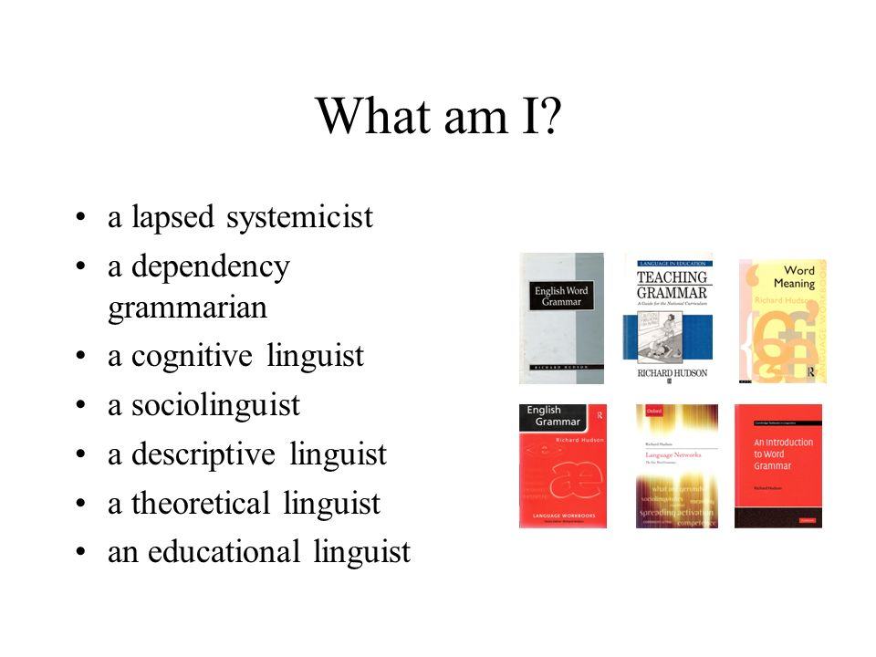 What am I? a lapsed systemicist a dependency grammarian a cognitive linguist a sociolinguist a descriptive linguist a theoretical linguist an educatio