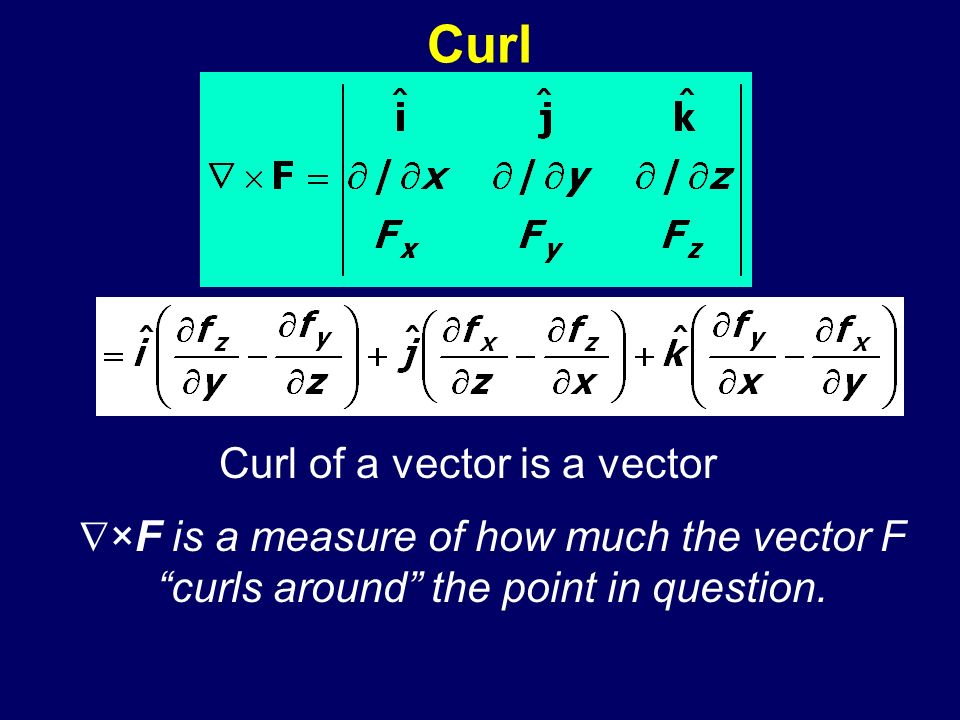 Curl Curl of a vector is a vector ×F is a measure of how much the vector F curls around the point in question.