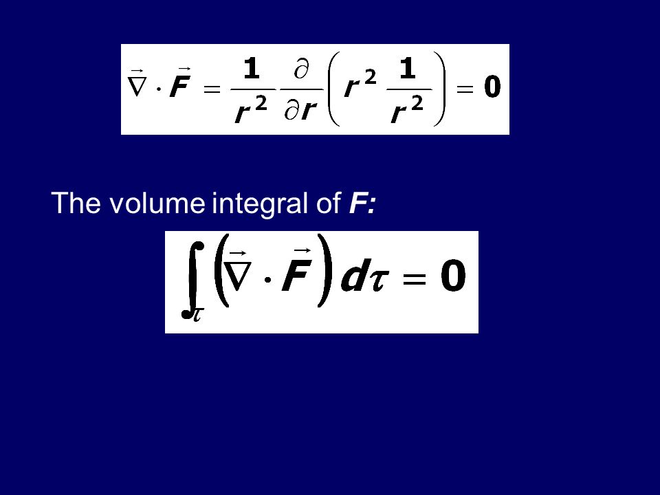 The volume integral of F:
