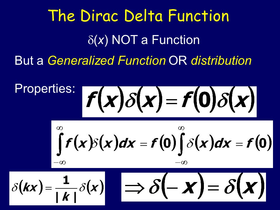 The Dirac Delta Function (x) NOT a Function But a Generalized Function OR distribution Properties: