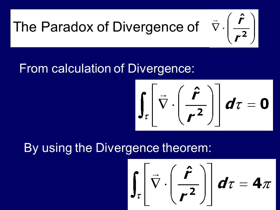 From calculation of Divergence: By using the Divergence theorem: The Paradox of Divergence of