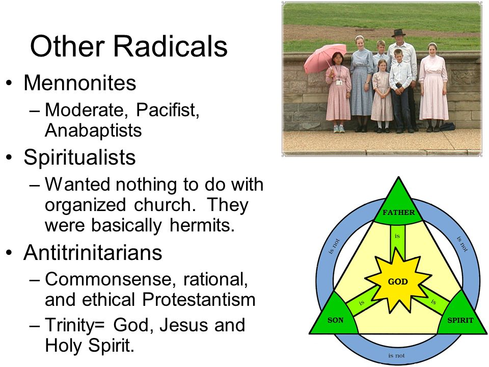 Other Radicals Mennonites –Moderate, Pacifist, Anabaptists Spiritualists –Wanted nothing to do with organized church. They were basically hermits. Ant