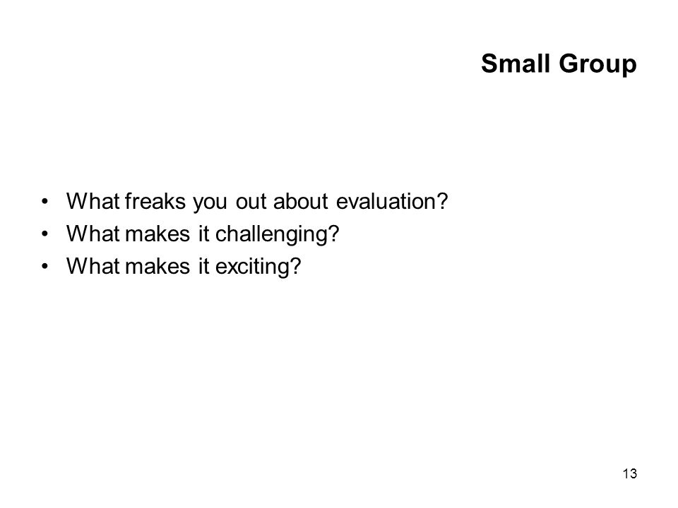 13 Small Group What freaks you out about evaluation? What makes it challenging? What makes it exciting?