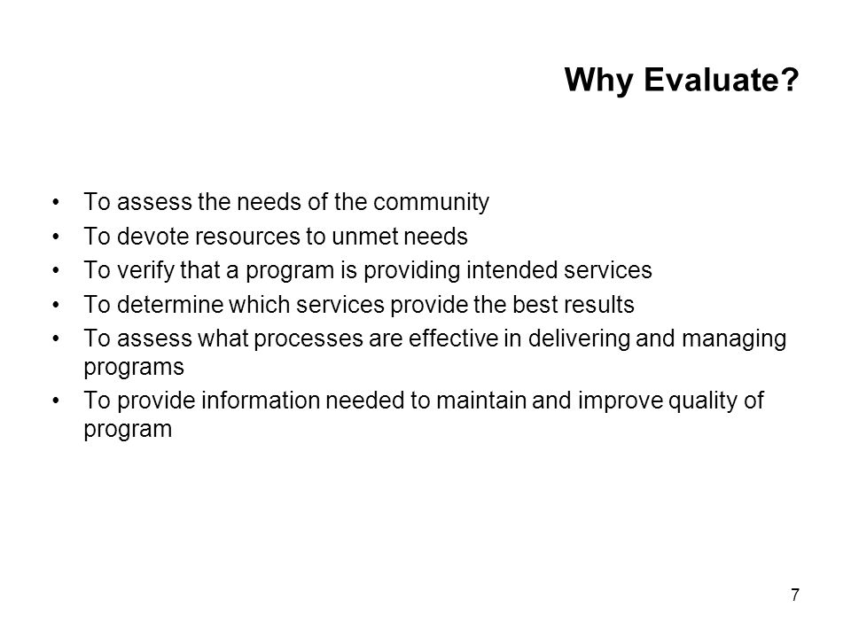 7 Why Evaluate.