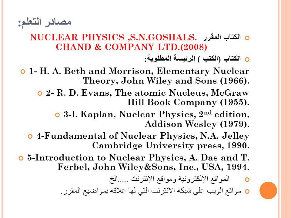 مصادر التعلم : الكتاب المقرر NUCLEAR PHYSICS,S.N.GOSHALS. CHAND & COMPANY LTD.(2008) الكتاب ( الكتب ) الرئيسة المطلوبة : 1- H. A. Beth and Morrison, E
