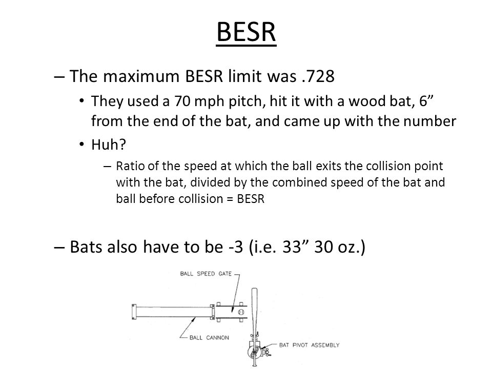 BESR – The maximum BESR limit was.728 They used a 70 mph pitch, hit it with a wood bat, 6 from the end of the bat, and came up with the number Huh.