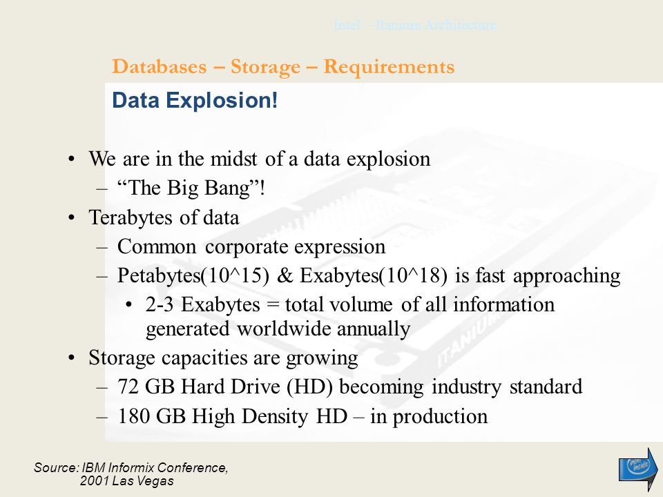 Intel – Itanium Architecture Data Explosion! We are in the midst of a data explosion –The Big Bang! Terabytes of data –Common corporate expression –Pe