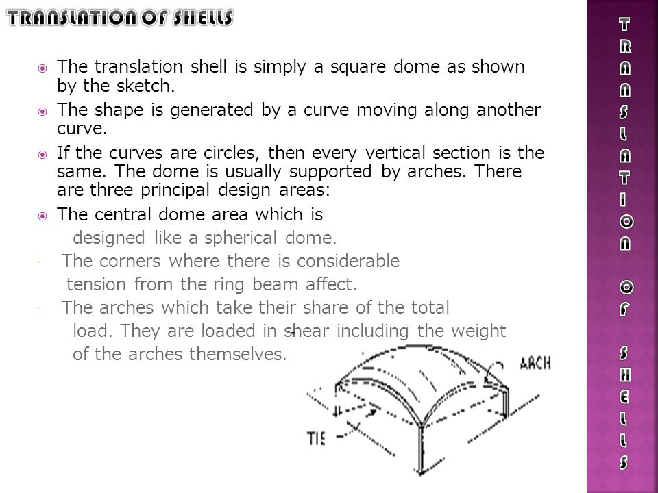 The translation shell is simply a square dome as shown by the sketch. The shape is generated by a curve moving along another curve. If the curves are