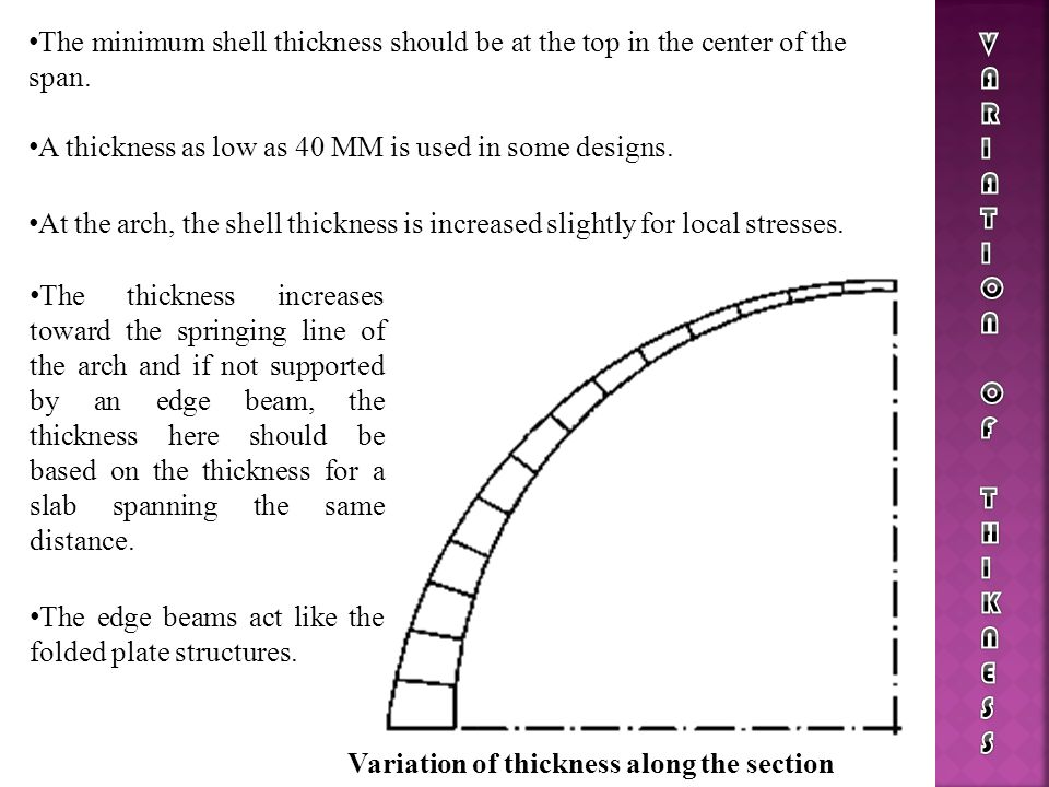 The minimum shell thickness should be at the top in the center of the span. A thickness as low as 40 MM is used in some designs. At the arch, the shel