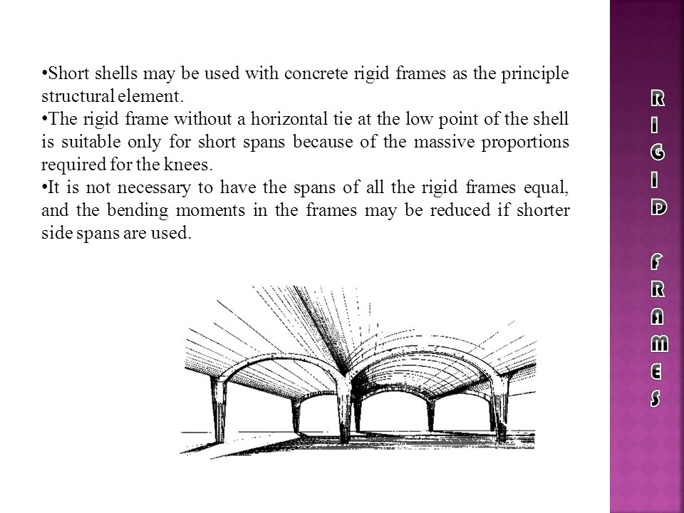 Short shells may be used with concrete rigid frames as the principle structural element. The rigid frame without a horizontal tie at the low point of