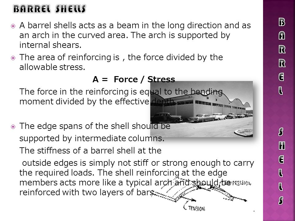 The design of folded plate roof structures follows the design of barrel shells, but is much simpler because the elements are all essentially beams.