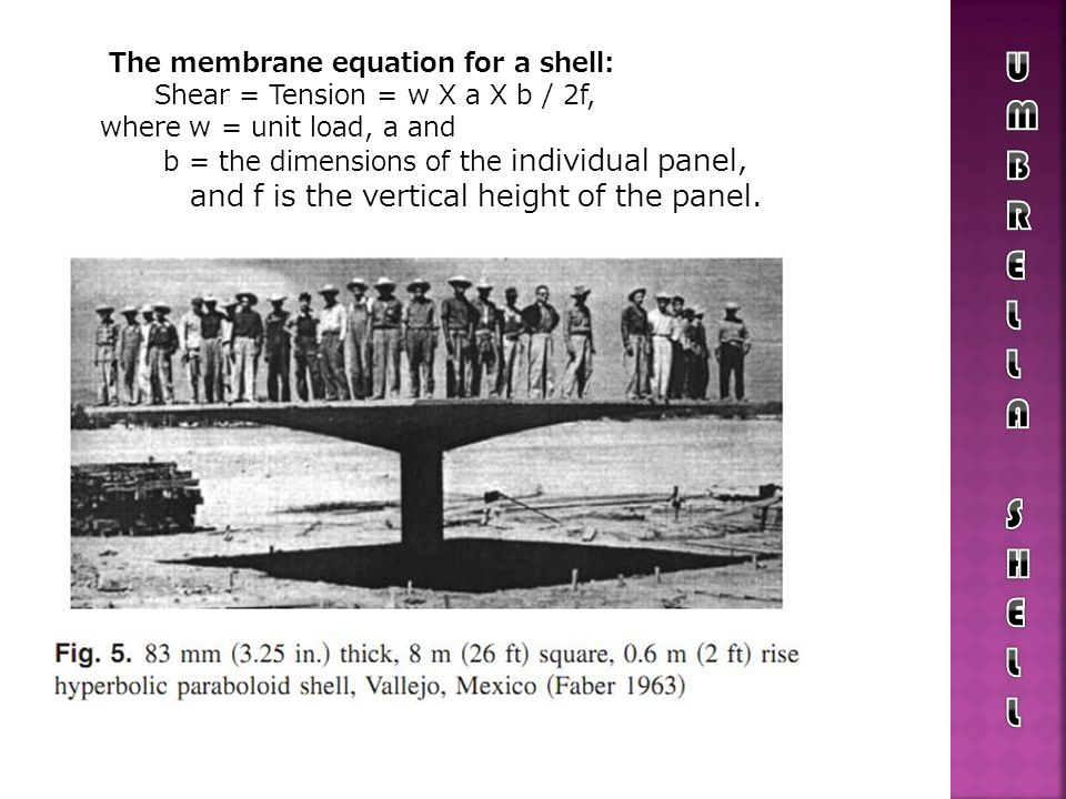 The membrane equation for a shell: Shear = Tension = w X a X b / 2f, where w = unit load, a and b = the dimensions of the individual panel, and f is t