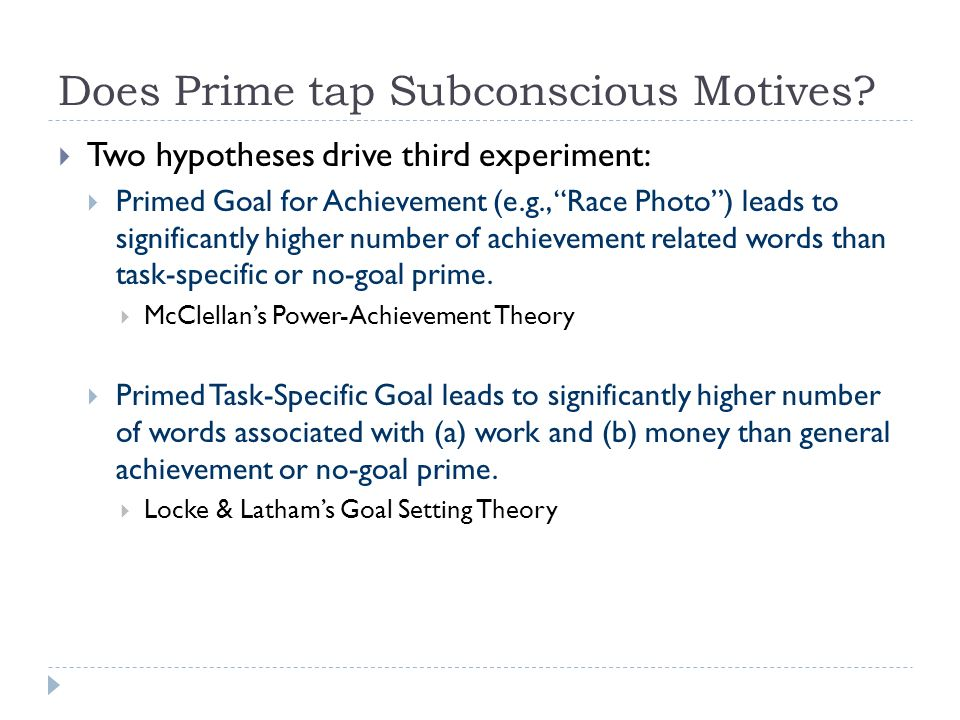 Does Prime tap Subconscious Motives.