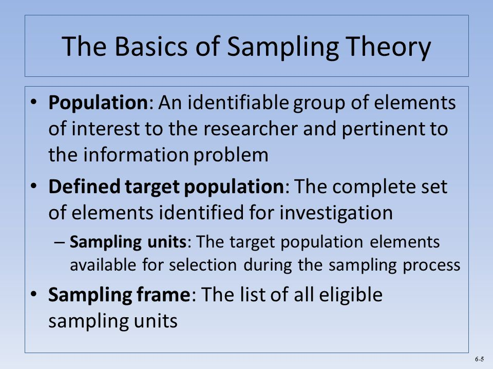 6-5 The Basics of Sampling Theory Population: An identifiable group of elements of interest to the researcher and pertinent to the information problem