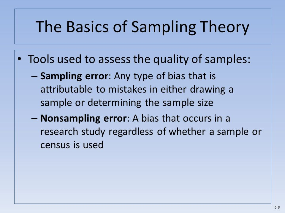 6-19 Probability Sampling and Sample Sizes When estimating a population mean: Where, – Z B,CL = The standardized z-value associated with the level of confidence – σ μ = Estimate of the population standard deviation (σ) based on some type of prior information – e = Acceptable tolerance level of error (stated in percentage points)