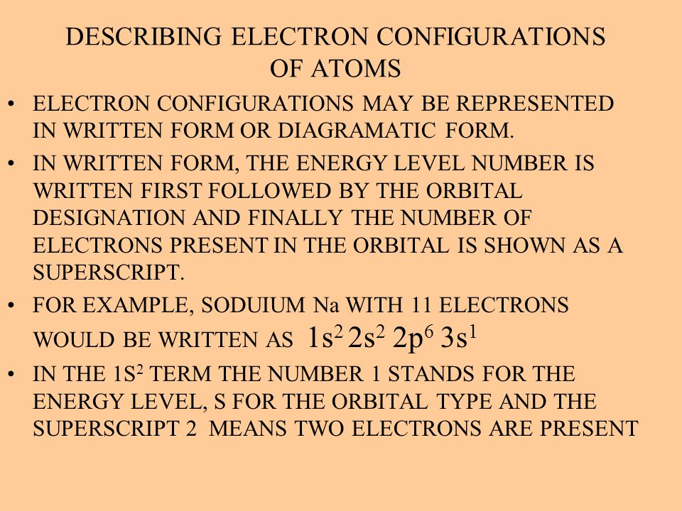 DESCRIBING ELECTRON CONFIGURATIONS OF ATOMS ELECTRON CONFIGURATIONS MAY BE REPRESENTED IN WRITTEN FORM OR DIAGRAMATIC FORM. IN WRITTEN FORM, THE ENERG
