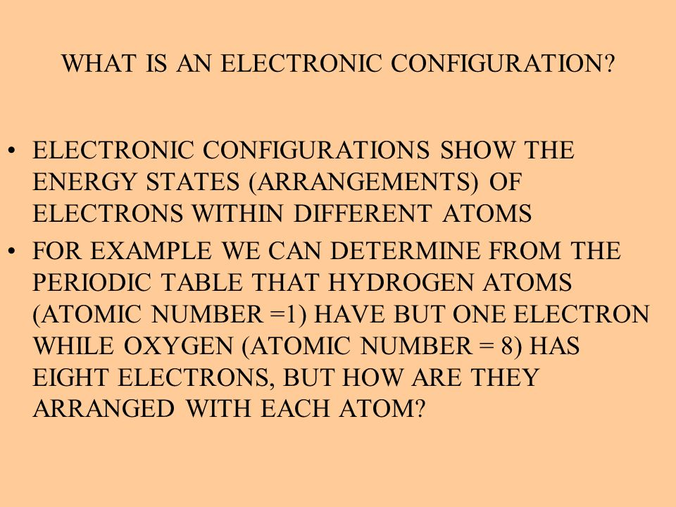 WHAT IS AN ELECTRONIC CONFIGURATION? ELECTRONIC CONFIGURATIONS SHOW THE ENERGY STATES (ARRANGEMENTS) OF ELECTRONS WITHIN DIFFERENT ATOMS FOR EXAMPLE W