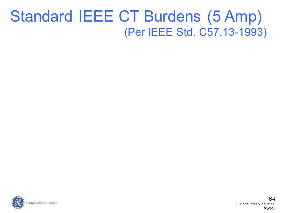 64 GE Consumer & Industrial Multilin Standard IEEE CT Burdens (5 Amp) (Per IEEE Std. C57.13-1993)