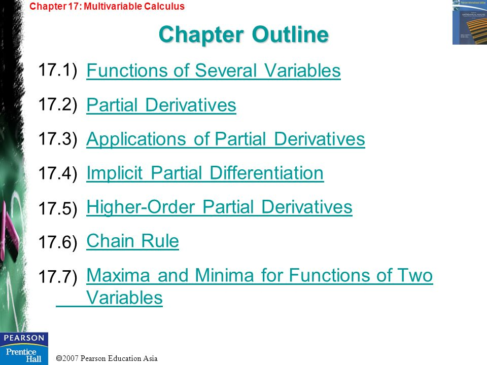 2007 Pearson Education Asia Functions of Several Variables Partial Derivatives Applications of Partial Derivatives Implicit Partial Differentiation Hi