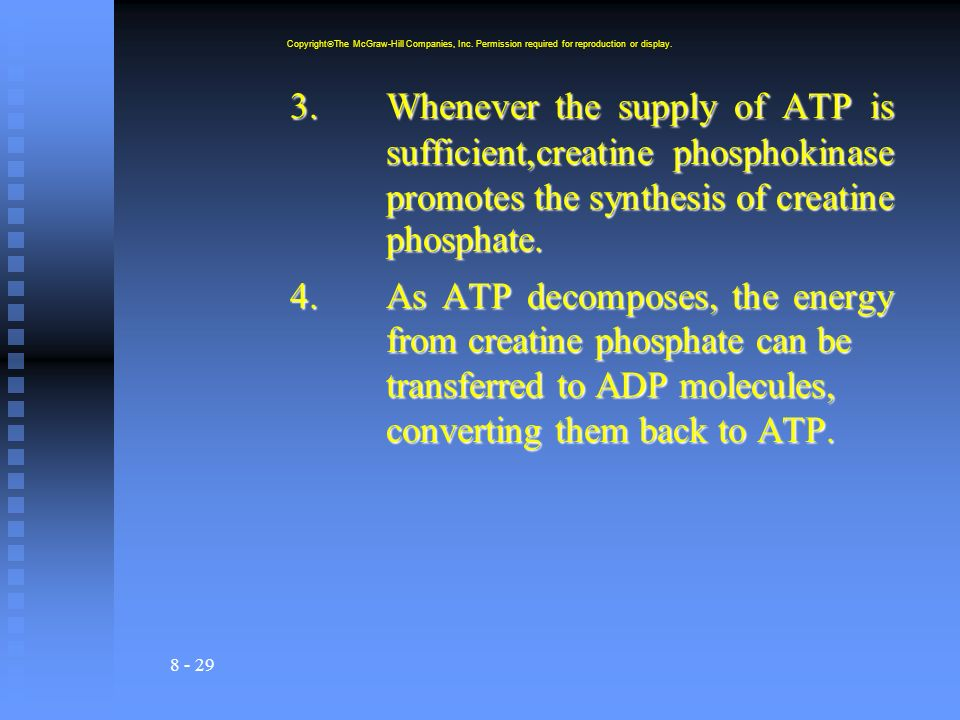 8 - 29 3.Whenever the supply of ATP is sufficient,creatine phosphokinase promotes the synthesis of creatine phosphate.