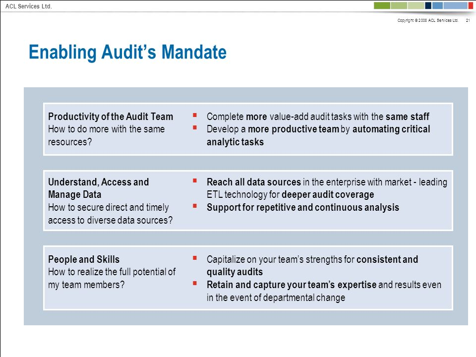 Copyright © 2008 ACL Services Ltd. 21 ACL Services Ltd. Enabling Audits Mandate Productivity of the Audit Team How to do more with the same resources?