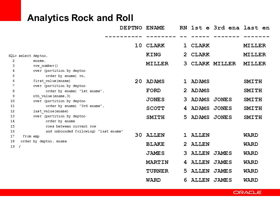 Analytics Rock and Roll SQL> select deptno, 2 ename, 3 row_number() 4 over (partition by deptno 5 order by ename) rn, 6 first_value(ename) 7 over (par