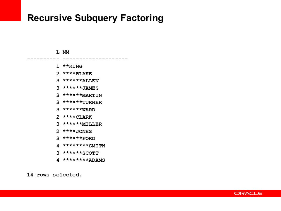 Recursive Subquery Factoring L NM ---------- -------------------- 1 **KING 2 ****BLAKE 3 ******ALLEN 3 ******JAMES 3 ******MARTIN 3 ******TURNER 3 ***