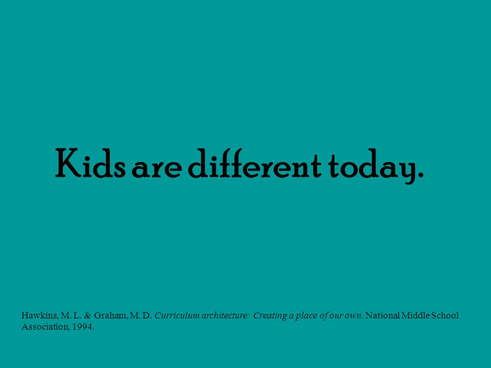 Kids are different today. Hawkins, M. L. & Graham, M. D. Curriculum architecture: Creating a place of our own. National Middle School Association, 199