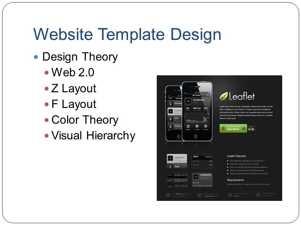 Website Template Design Design Theory Web 2.0 Z Layout F Layout Color Theory Visual Hierarchy