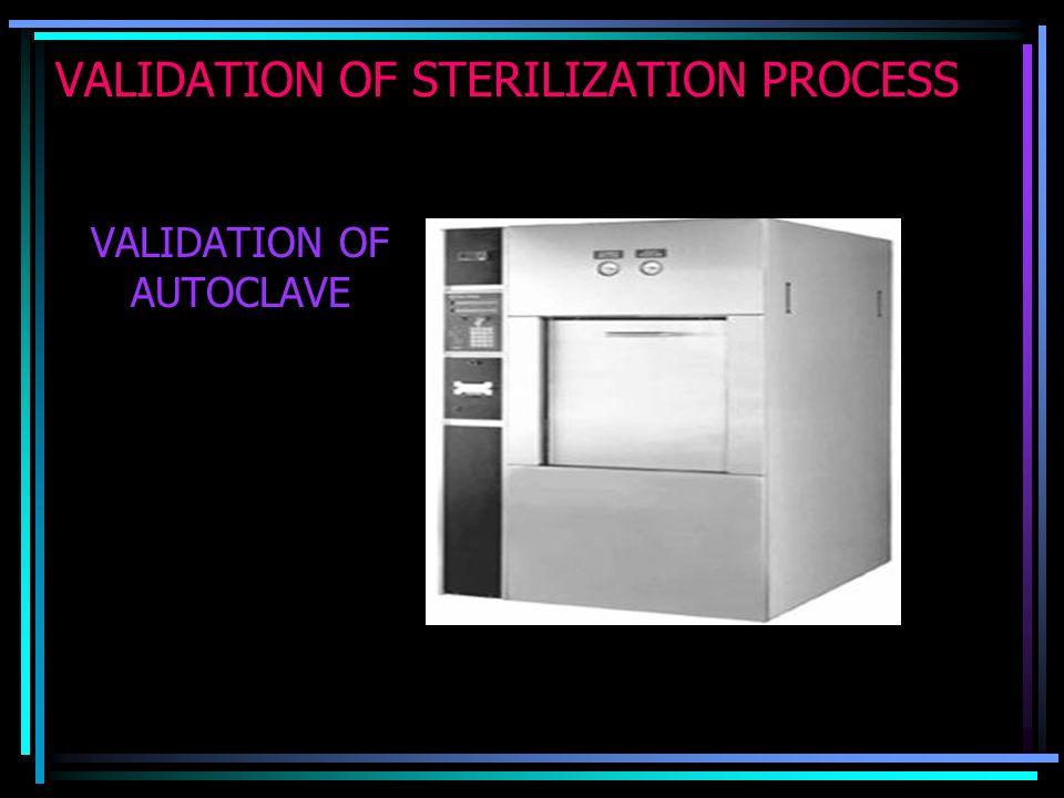 VALIDATION OF STERILIZATION PROCESS VALIDATION OF AUTOCLAVE