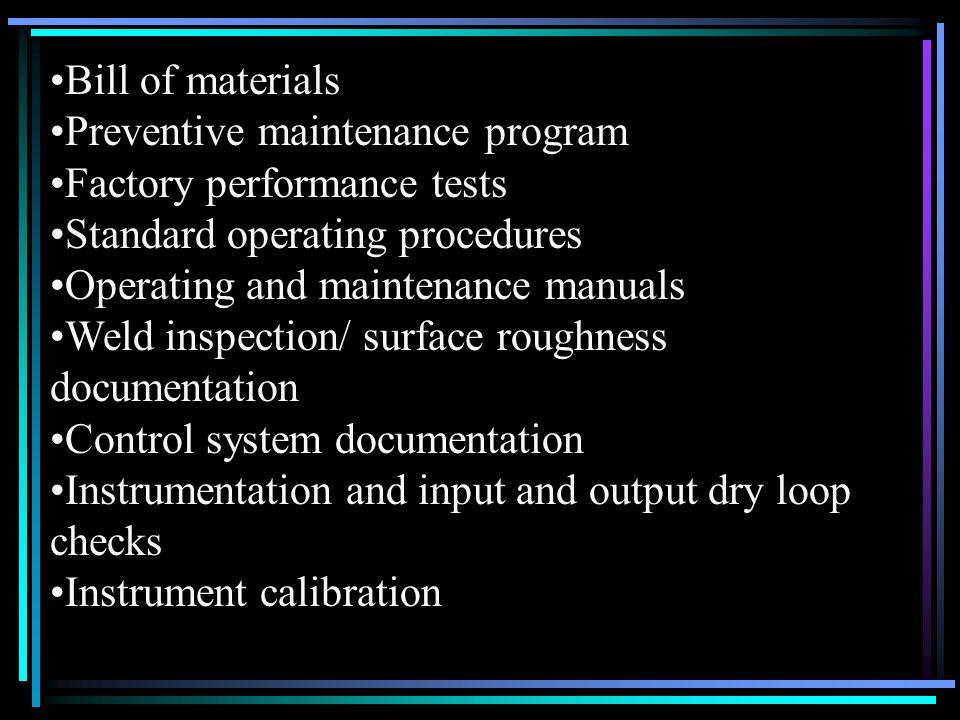 Bill of materials Preventive maintenance program Factory performance tests Standard operating procedures Operating and maintenance manuals Weld inspec
