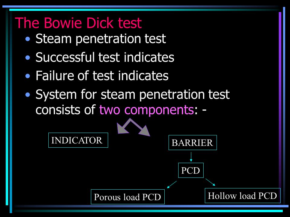 The Bowie Dick test Steam penetration test Successful test indicates Failure of test indicates System for steam penetration test consists of two compo