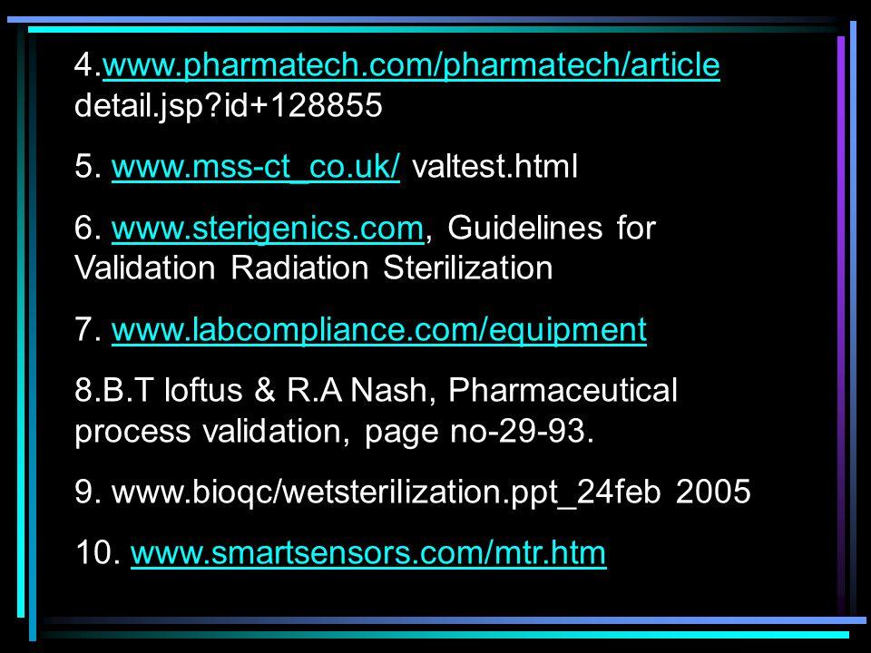 4.www.pharmatech.com/pharmatech/article detail.jsp?id+128855www.pharmatech.com/pharmatech/article 5. www.mss-ct_co.uk/ valtest.htmlwww.mss-ct_co.uk/ 6