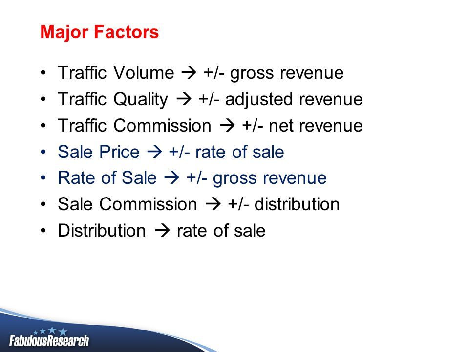 Major Factors Traffic Volume +/- gross revenue Traffic Quality +/- adjusted revenue Traffic Commission +/- net revenue Sale Price +/- rate of sale Rat