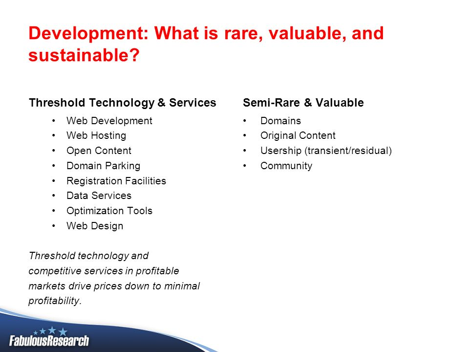 Development: What is rare, valuable, and sustainable? Threshold Technology & Services Web Development Web Hosting Open Content Domain Parking Registra