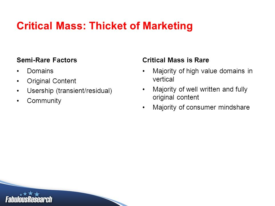 Critical Mass: Thicket of Marketing Semi-Rare Factors Domains Original Content Usership (transient/residual) Community Critical Mass is Rare Majority