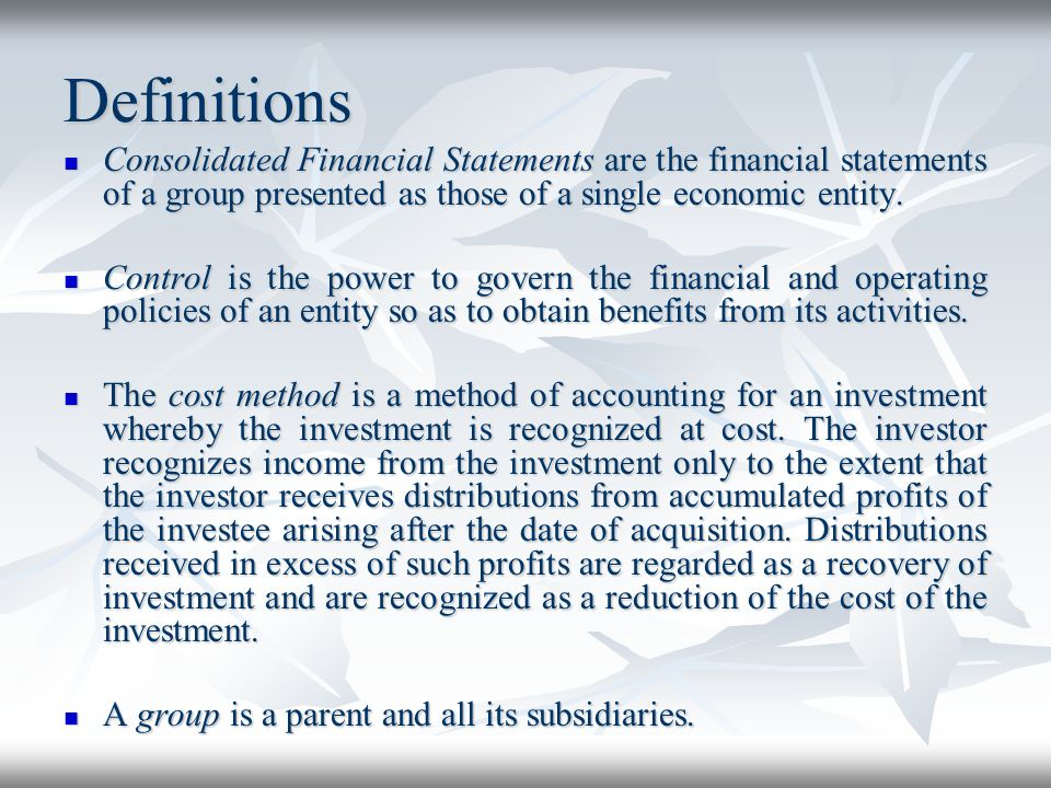 Consolidation Procedures The financial statements of the parent and its subsidiaries used in the preparation of the consolidated financial statements shall be prepared as of the same reporting date.