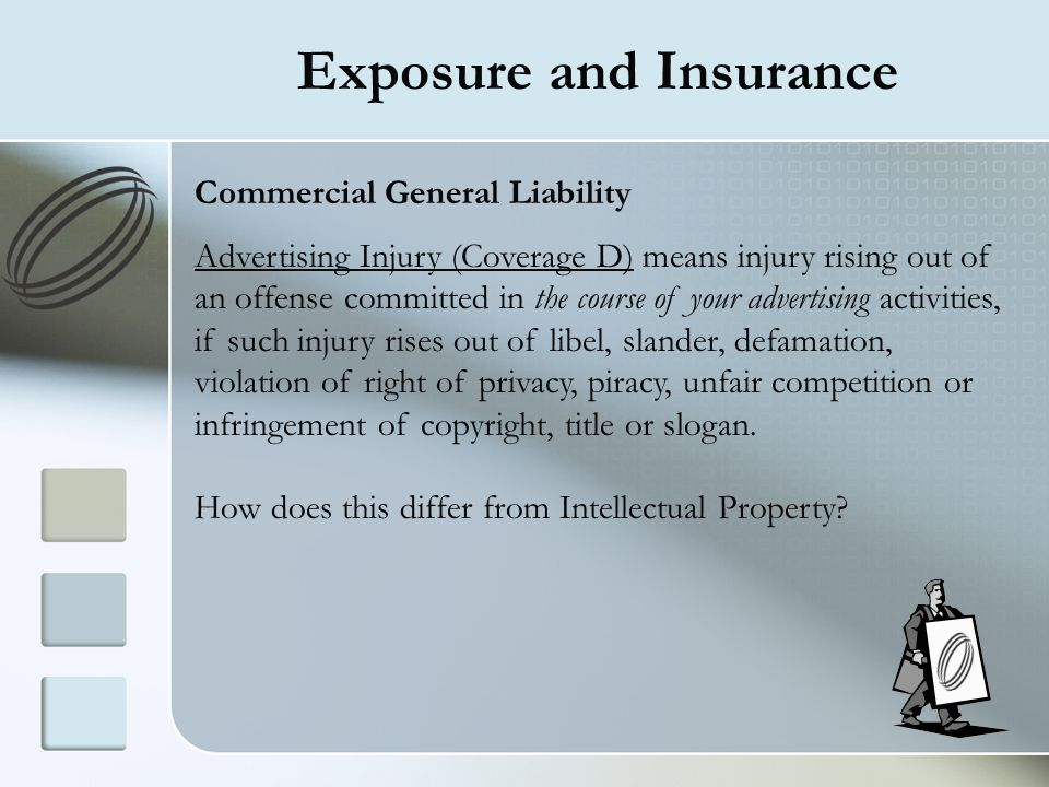 Exposure and Insurance Commercial General Liability Advertising Injury (Coverage D) means injury rising out of an offense committed in the course of y