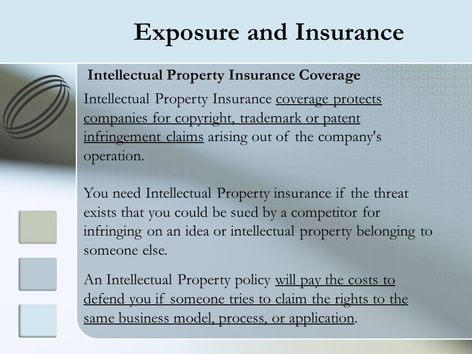 Exposure and Insurance Intellectual Property Insurance Coverage Intellectual Property Insurance coverage protects companies for copyright, trademark o