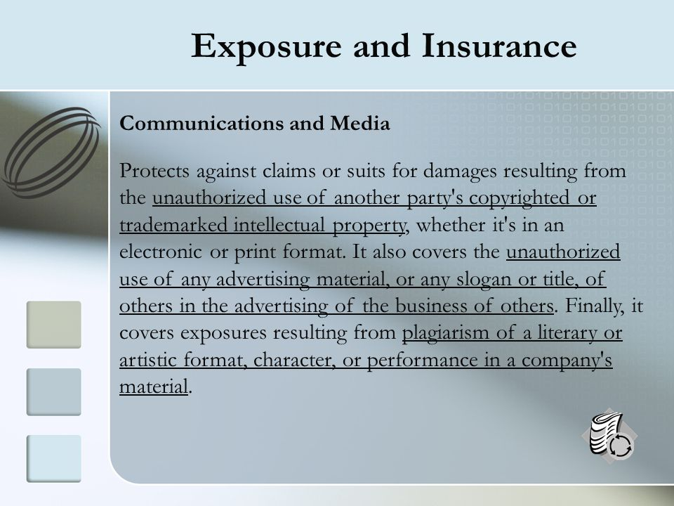 Exposure and Insurance Communications and Media Protects against claims or suits for damages resulting from the unauthorized use of another party's co