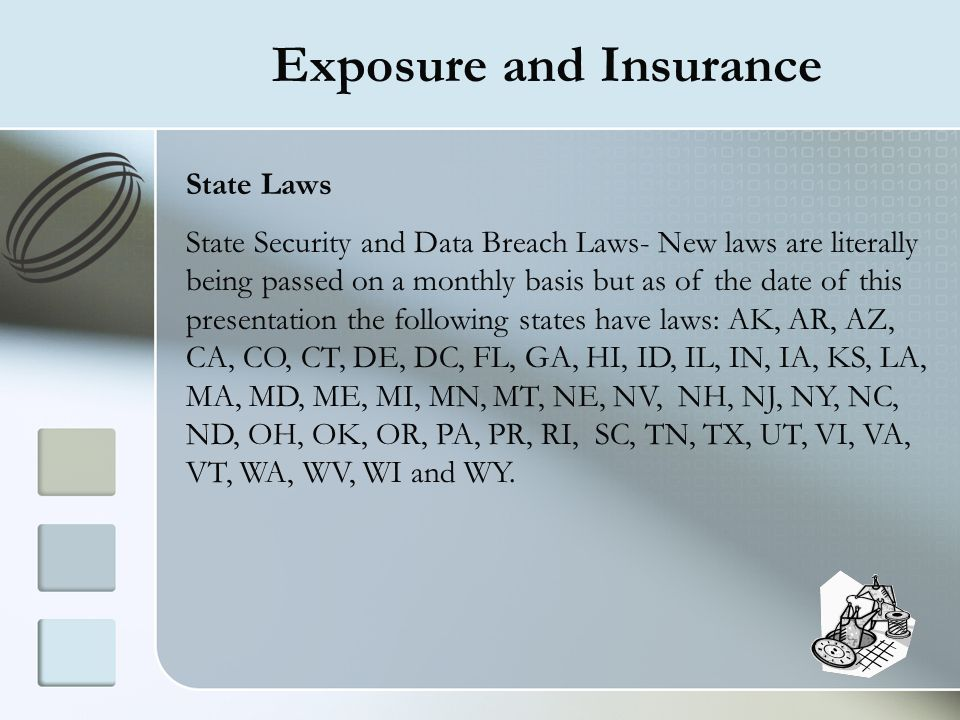 Exposure and Insurance State Laws State Security and Data Breach Laws- New laws are literally being passed on a monthly basis but as of the date of th