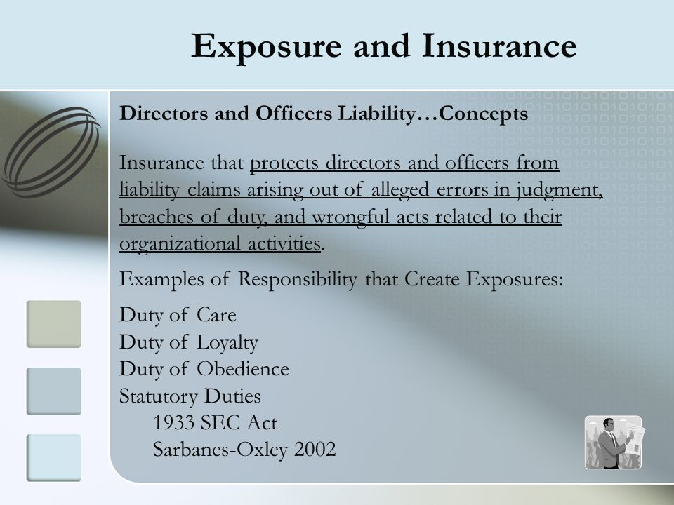 Exposure and Insurance Directors and Officers Liability…Concepts Insurance that protects directors and officers from liability claims arising out of a