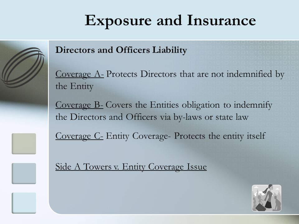 Exposure and Insurance Directors and Officers Liability Coverage A- Protects Directors that are not indemnified by the Entity Coverage B- Covers the E