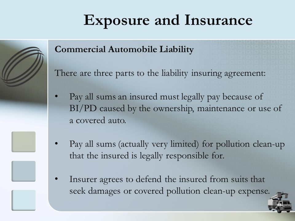 Exposure and Insurance Commercial Automobile Liability There are three parts to the liability insuring agreement: Pay all sums an insured must legally