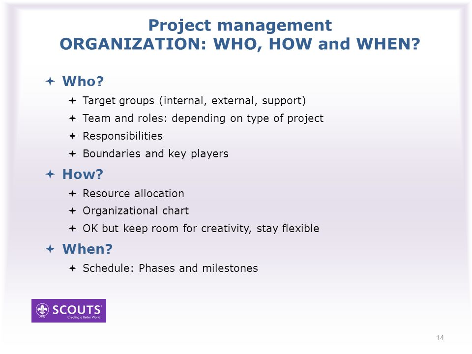 Project management ORGANIZATION: WHO, HOW and WHEN.
