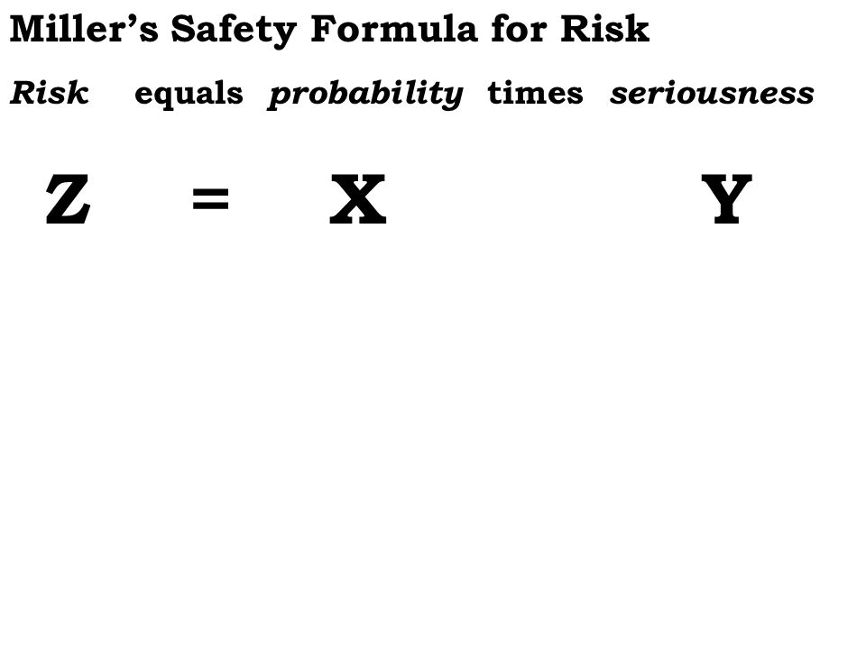 Millers Safety Formula for Risk Risk equals probability times seriousness Z = X Y