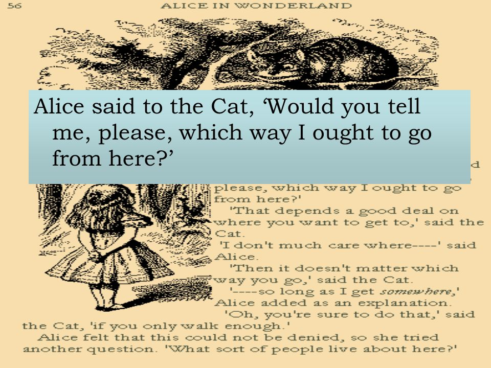 Alice said to the Cat, Would you tell me, please, which way I ought to go from here
