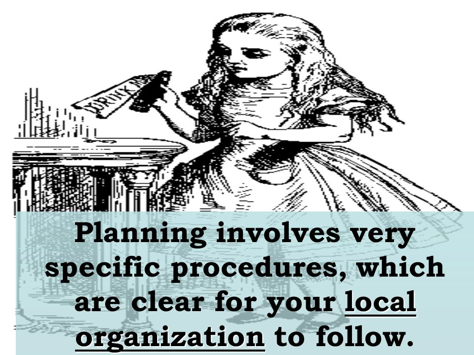 local organization Planning involves very specific procedures, which are clear for your local organization to follow.
