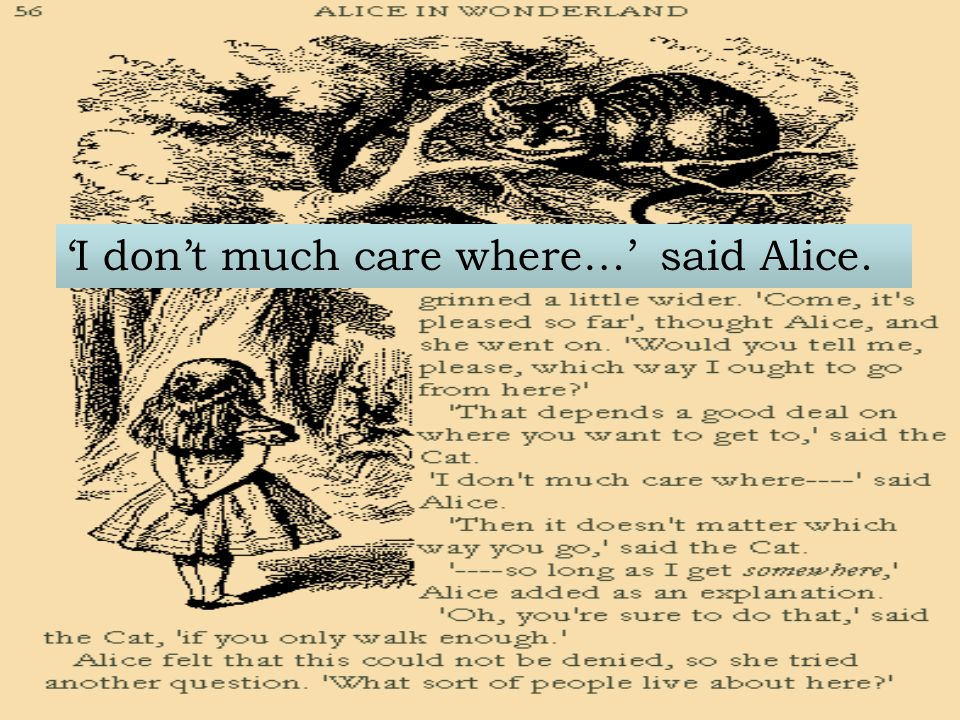 I dont much care where… said Alice.